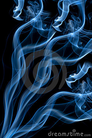 Blue smoke isolated over black