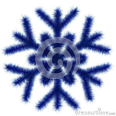 Blue snowflake 3d.