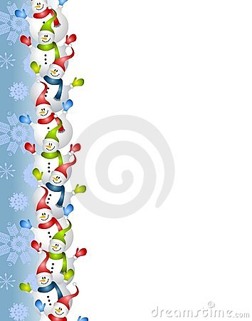 border illustration featuring lots of happy snowmen against a blue ...