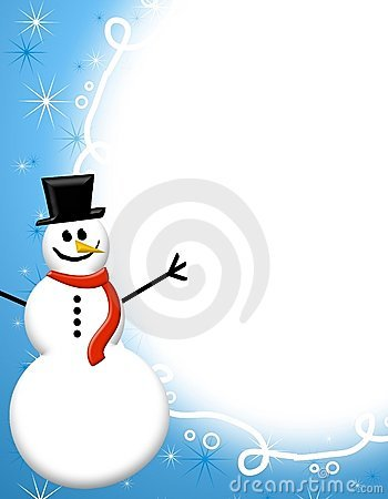 Blue Snowman Page Border Royalty Free Stock Images - Image: 6040459