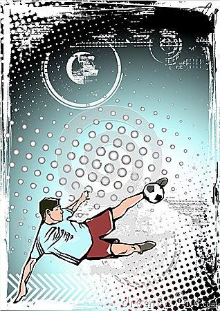 Blue soccer poster background