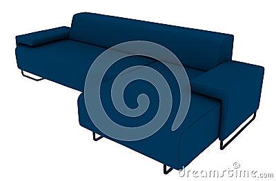 Blue Sofa 3D Rendering