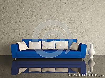 Blue sofa with white pillows