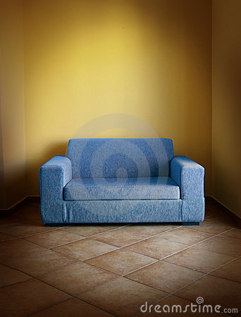 Blue Sofa Yellow Wall Stock Photo Image 15471280
