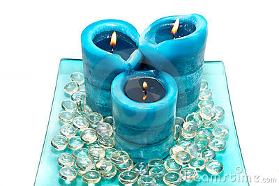 Blue spa candles