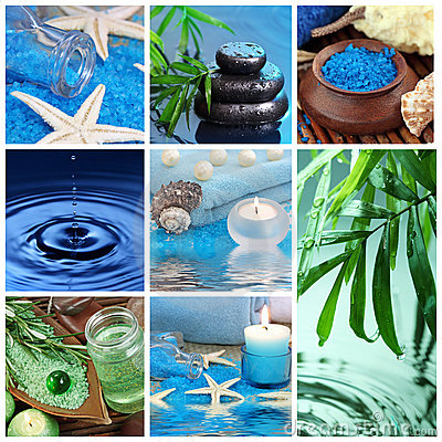 Blue spa collage