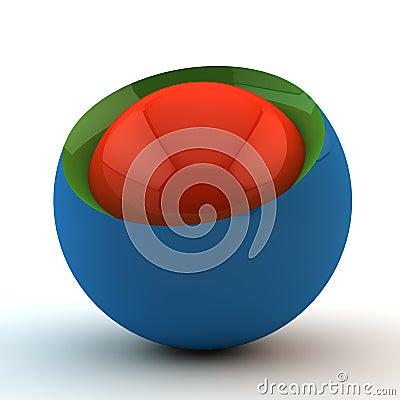 Blue sphere in a cut