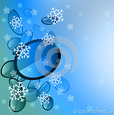 Blue sphere slices with falling snow card
