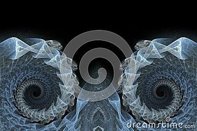 Blue spiral fractals background