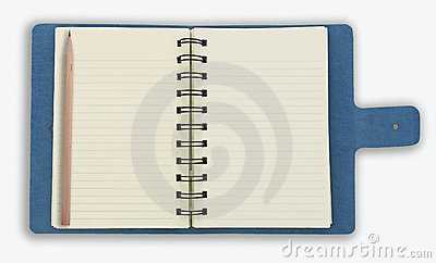 Blue spiral notebook isolated on white