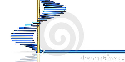 The blue spiral staircase