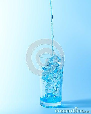 Blue splash in glass