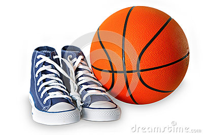 Blue sport shoes and basketball