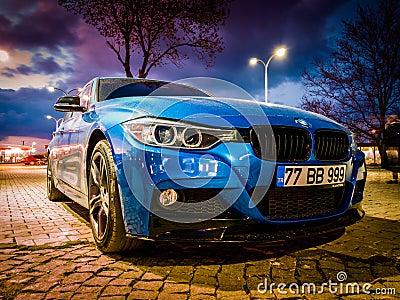 Blue Sports Sedan Car