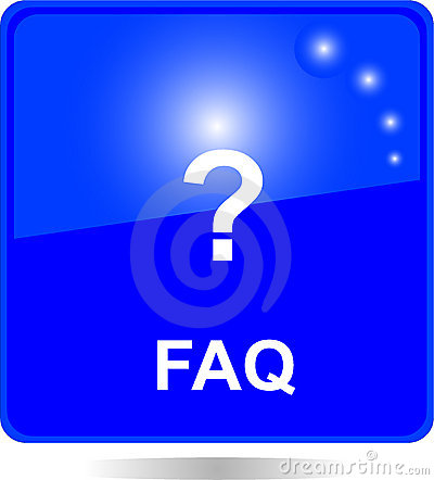 Blue square FAQ web button
