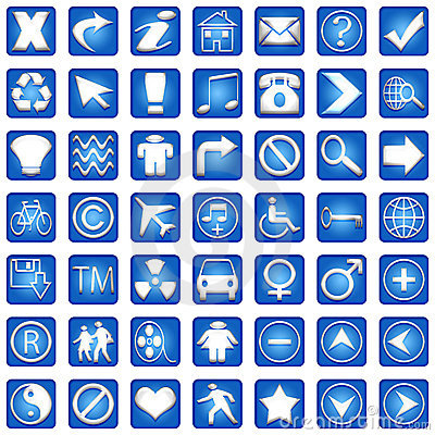 Blue Square Icons Set Part 1