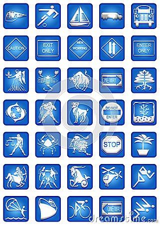 Blue Square Icons Set Part4