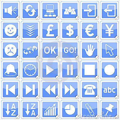 Blue Square Stickers Icons [3]