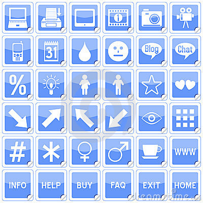Blue Square Stickers Icons [4]