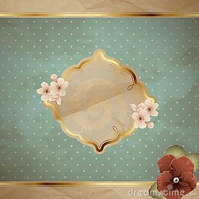 Blue square vintage banner with flowers