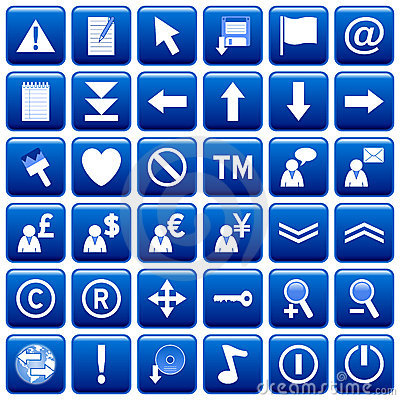 Free Blue Square Web Buttons [2] Stock Image - 4854481