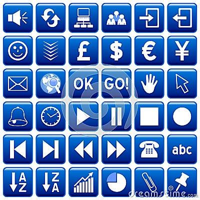 Blue Square Web Buttons [3]