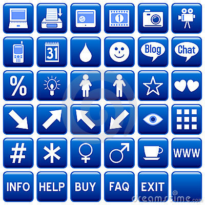 Free Blue Square Web Buttons [4] Royalty Free Stock Photos - 4870248