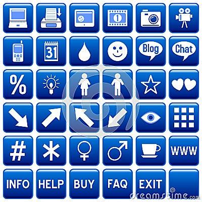 Blue Square Web Buttons [4]