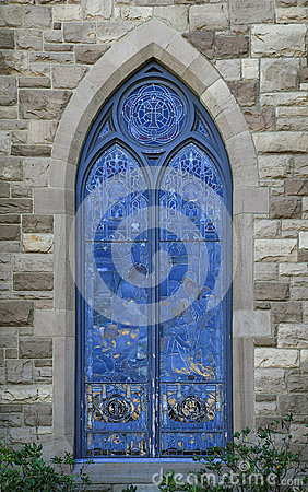 Free Blue Stained Glass Church Window Royalty Free Stock Photo - 66840275