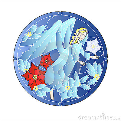 Blue Stained Glass Windows with Christmas Angel