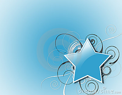 Blue Star and Swirls