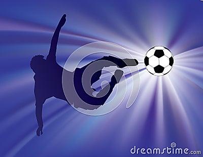 Blue starburst soccer kick