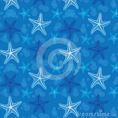 Blue starfish seamless pattern background