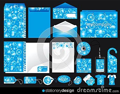 Blue stationery set design