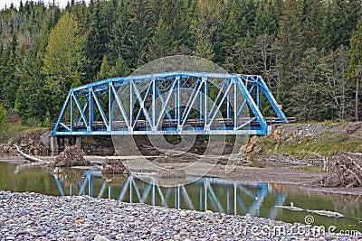 Blue steel railroad bridge