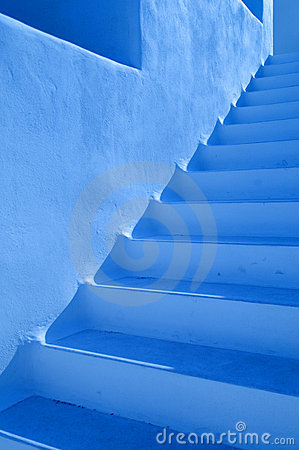 Blue steps outdoors