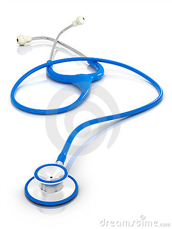 Blue stethoscope on clean isolated background.