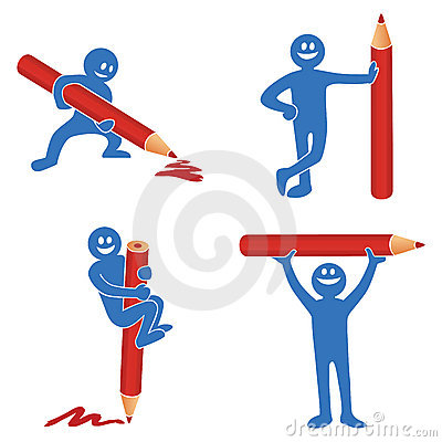 Blue stick figure with red pencil