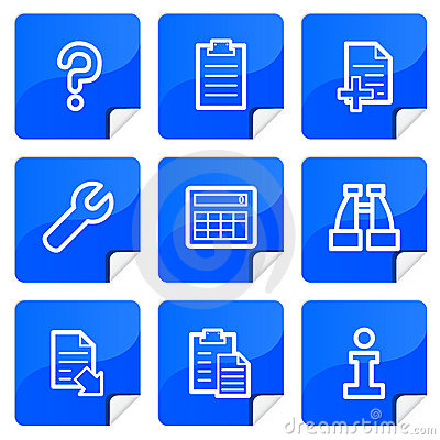 Blue stickers document icons