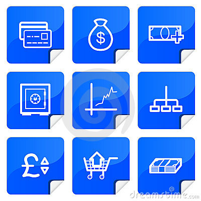 Blue stickers finance icons