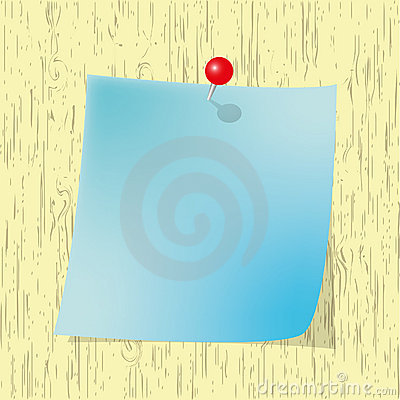 Blue Sticky  note pad with red pin