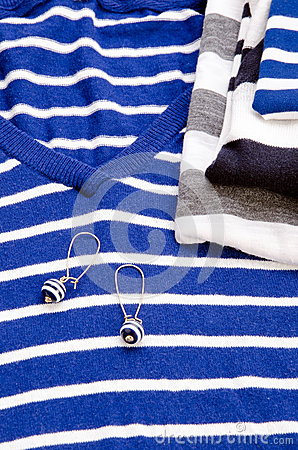 Blue striped sweater and earring