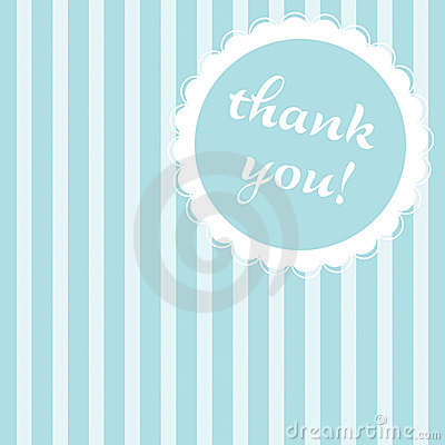 Blue striped thank you note