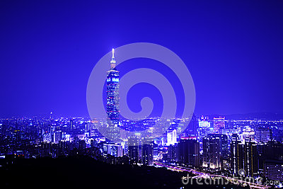 Blue style of Taipei night scene with Taipei101