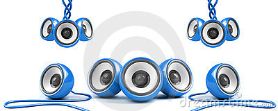 Blue stylish high-power stereo system
