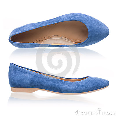 Blue suede pumps over white