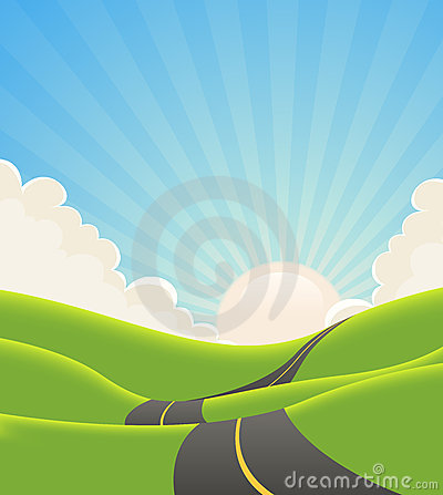 Free Blue Summer Landscape Road Royalty Free Stock Photos - 24263398