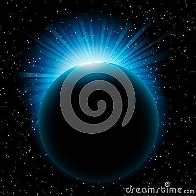 Blue sun beams over planet