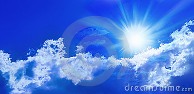 Blue Sun Sky Panorama Banner Stock Photo