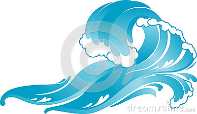 Blue Surfer Crashing  Wave